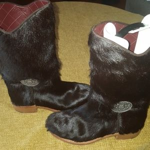 Chanel furry boots